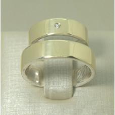 Aliança de Casamento em Prata 950 com Chapa em Ouro Amarelo 18K com Brilhante