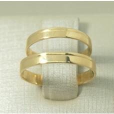 Aliança de Casamento em Ouro Amarelo 18K Reta com Friso