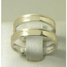 Par de Alianças em Prata 950 e Ouro Amarelo 18K com Friso e Fosco Diamantado