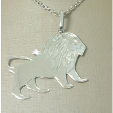 Pingente em Prata 950 Leão com Detalhe Fosco