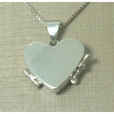 Pingente em Prata 950 Relicário Coração - Pequeno