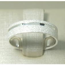 Aliança de Compromisso em Prata 950 Reta Diamantada com Friso