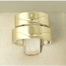 Aliança de Casamento em Prata 950 e Ouro Amarelo 18K com Brilhante