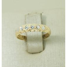 Anel em Ouro Amarelo 18K Diamantado com Dois Tons