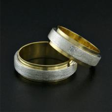 Aliança de Casamento em Ouro Amarelo 18K Sobreposta em Prata com Brilhante