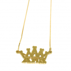 Gargantilha em Ouro Amarelo 18K Coroa com Nome