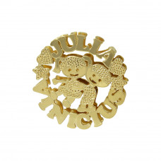 Mandala em Ouro Amarelo 18K com Nomes e Bonequinhos