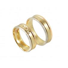 Aliança de Casamento em Ouro Amarelo, Ouro Vermelho e Prata com Brilhantes