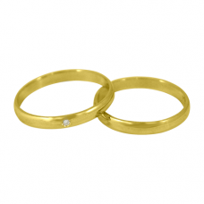 Aliança de Casamento em Ouro Amarelo 18K Tradicional com Brilhante