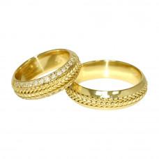 Aliança de Casamento em Ouro Amarelo 18K Trançada com Brilhantes