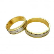 Aliança de Casamento em Ouro Amarelo 18K com Ouro Branco e Brilhante