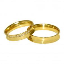 Aliança de Casamento em Ouro Amarelo 18K Côncava com 10 Pontos de  Brilhante