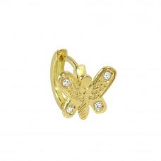 Piercing de Orelha em Ouro Amarelo 18K Borboleta com Zircônias