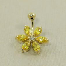 Piercing de Umbigo em Ouro Amarelo 18K Flor com Zircônias