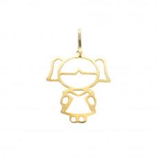 Pingente de Bonequinha em Ouro Amarelo 18K Vazada
