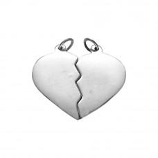 Pingente em Prata 950 Coração Cara Metade