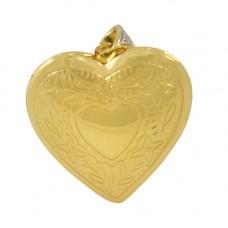 Relicário em Ouro Amarelo 18K Formato de Coração