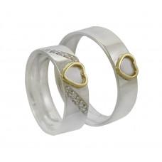 Aliança de Compromisso em Prata 950 Reta com Coração em Ouro Amarelo e Zircônias