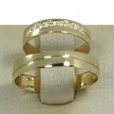 Aliança de Casamento em Ouro Amarelo 18K Reta com Friso e Brilhantes