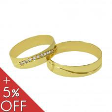 Aliança de Casamento em Ouro Amarelo 18K Reta com Friso Ondulado e Brilhantes