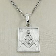 Pingente Masculino em Prata 950 com Símbolo da Maçonaria