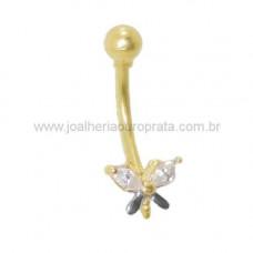 Piercing de Umbigo em Ouro Amarelo 18K Borboleta com Zircônias
