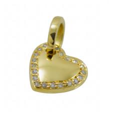 Pingente em Ouro Amarelo 18K Coração com Brilhantes