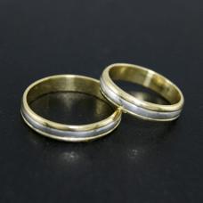 Aliança de Bodas em Ouro Amarelo 18K com Fio de Prata