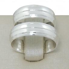 Aliança de Compromisso em Prata 950 com Frisos Espelhados