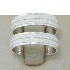 Aliança de Compromisso em Prata 950 Reta com Frisos Diamantados