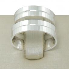 Aliança de Compromisso em Prata 950 Reta Espelhada com Friso