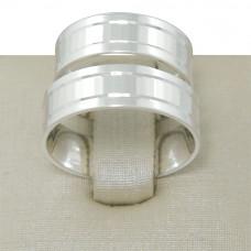 Aliança de Compromisso em Prata 950 Reta Espelhada com Frisos