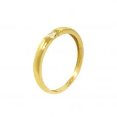 Anel Solitário em Ouro Amarelo 18K com Brilhante
