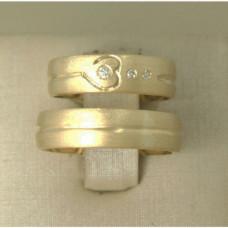 Aliança de Casamento em Ouro Amarelo 18K Fosca com Diamante