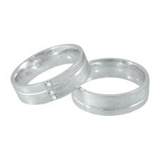 Aliança de Compromisso em Prata 950 Reta com Friso e Zircônias