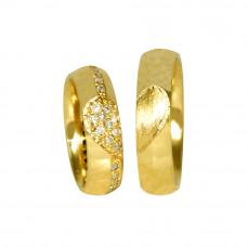 Aliança de Casamento em Ouro Amarelo 18K com Coração e Brilhantes