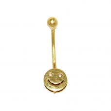 Piercing de Umbigo em Ouro Amarelo 18K Smile com Brilhantes
