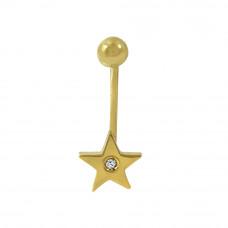 Piercing de Umbigo em Ouro Amarelo 18K Estrela com Brilhante