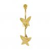 Piercing de Umbigo em Ouro Amarelo 18K Borboletas com Brilhante